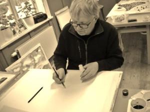 Christer Jakobsson på akvarellkurs i Älvdalen