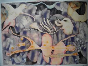 Glödtråd Akvarellmålning 67x92 cm