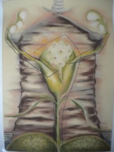 Pastellteckning 48x68 cm Moder Liv Moder Död Moder Jord