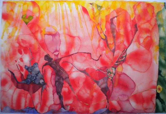Nyinflyttade Akvarell 94×63 cm