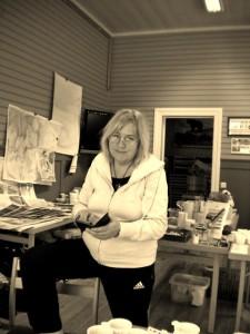 Christina Jansson på akvarellkurs i Älvdalen