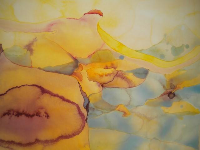 Bada i Bretagne Akvarell närbild
